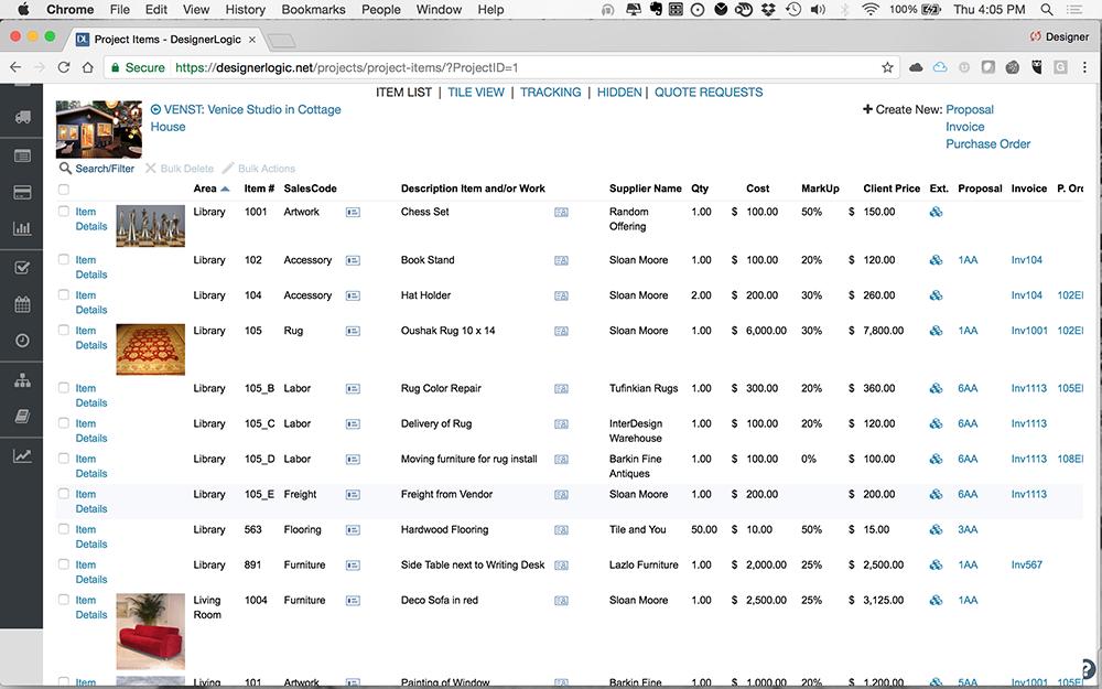 Interior design invoice software for Interior design project management software